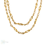 Knot Link 9ct 9k Yellow Gold Chain, Victorian 44cm / 17.3 inch Fancy Link Necklace.