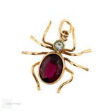 Spider Pendant, Large Antique 9ct Gold Garnet & Aquamarine Paste Bug Charm.