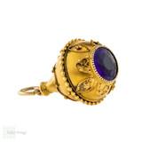 Amethyst Cannetille 15ct Drop Bauble Pendant, Victorian Teardrop Shape Watch Fob.