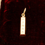 Miniature 9ct Yellow Gold Ingot Charm Pendant, 9k 1979 English Hallmarks.