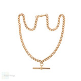 Antique 9ct 9k Rose Gold Chain, Heavy 18 inch / 46 cm Curb Link Necklace 36.8g.