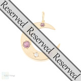 RESERVED Victorian Ruby & Old Mine Cut Diamond Crescent Moon Pendant, Antique 12ct Rose Gold Necklace.