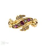 Ruby, Seed Pearl & Rose Cut Diamond Ring, Edwardian 18ct Yellow Gold Band.