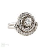 Vintage Diamond Halo Engagement Ring & Wedding Band Set. 18k 18ct White Gold Mid Century Ring Pair.