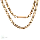 Antique 9ct Snake Chain, Victorian 9k Rose Gold 18 inch Slinky Necklace with Barrel Clasp.