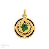 French 18ct Ivy Leaf Pendant, Antique Sentimental 18k Gold Charm.