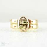 Victorian Yellow Gold Buckle Ring, 18 Carat Gold. Antique Double Buckle Design with Beaded Pattern, Circa 1882. Size M.5 / 6.5.