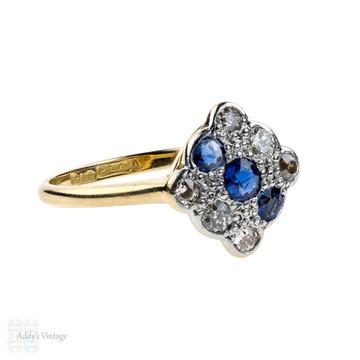 Art Deco Diamond & Sapphire Engagement Ring, Square Panel Triple Row. 18ct & Platinum.