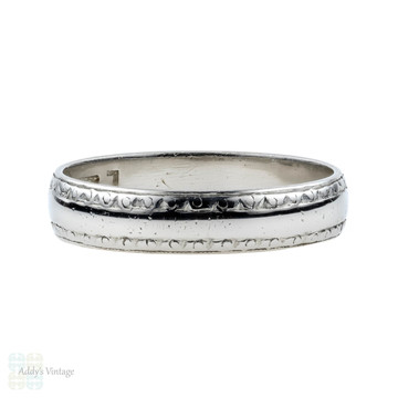 1930s Engraved Platinum Wedding Ring, Wide Wedding Band by Charles Green & Son. Size L / 6.