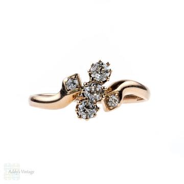 Art Nouveau Diamond Crossover Ring, Three Old Mine Cut Diamonds in Bypass Style Setting, 0.38 ctw, 14 Carat Rose Gold, Circa 1910s.