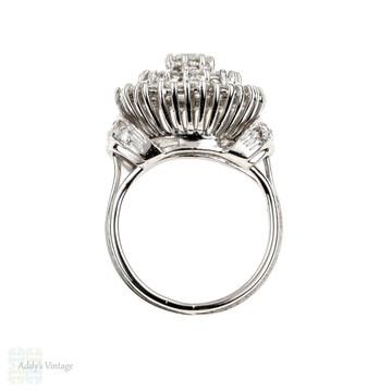Vintage Diamond Cocktail Ring, Large Mid Century 18ct 18k White Gold Cluster Dinner Ring.