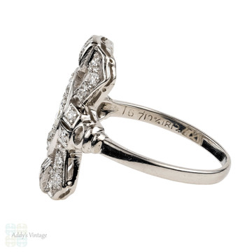 Art Deco Diamond Cocktail Ring, Elongated Geometric Shape 1930s Diamond Dinner Ring, 0.54 ctw, Platinum.