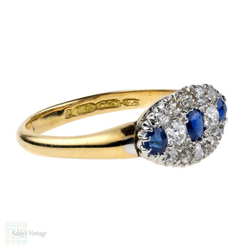Victorian Sapphire & Diamond Cluster Ring, Antique 18ct 18k Gold Cocktail Ring, 1870s.