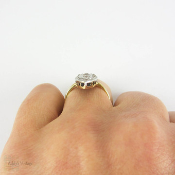 Antique Navette Shape Old Mine Cut Diamond Cluster Ring, Large Marquise Design Cocktail Dinner Ring. Late 19th Century, 18 Carat Gold & Platinum.