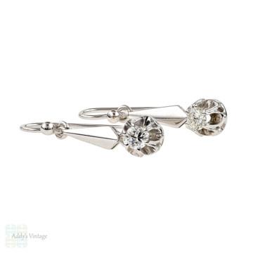 Diamond Drop Earrings, 14k Vintage 0.33 ctw Diamond Dangle Earrings, 14ct White Gold.