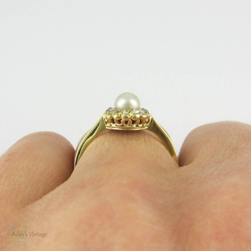 Vintage Pearl & Rose Cut Diamond Ring. White Cultured Pearl with Diamond Halo in 18 Carat Yellow Gold.