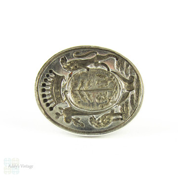 Antique Silver Seal Fob, Sterling Silver Crest with Lion, Bird & Crown, Georgian Circa 19th Century.