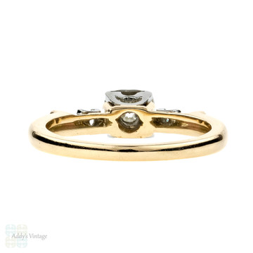 Old European Cut Diamond Engagement Ring, Vintage Birks Three Stone 14k & 18k Gold.