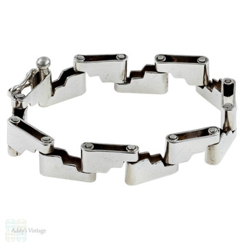 Mid Century Sterling Silver Bracelet, Step Ladder Design Heavy Wide Bracelet.