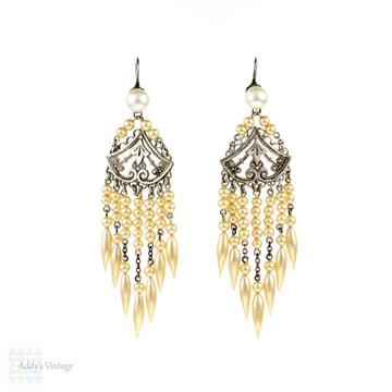 SALE Antique Edwardian Chandelier Earrings, Silver & Wax Pearl Long Dangle Bridal Earrings.  Circa 1900s.