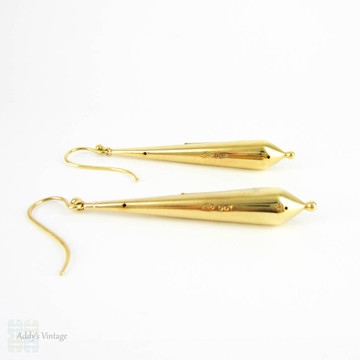 Victorian 9k Torpedo Drop Earrings, Antique Cannetille Wire Work Design, 9ct Gold.