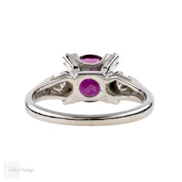 Garnet & Diamond Engagement Ring, Rhodolite Garnet in Vintage Art Deco Platinum Fishtail Style Triple Claw 1930s Setting.