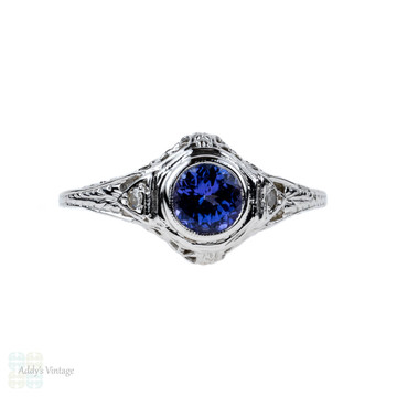 Tanzanite & Diamond Filigree Engagement Ring, Art Deco Style Floral Pierced Engraved Setting, 14K.