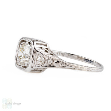 Vintage Platinum Filigree Diamond Engagement Ring, Old Cut Diamond in Floral Design Setting. Circa 1920s, 0.61 ct with GIA Report.