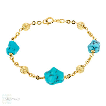 Turquoise 18ct Gold Bracelet, Large Turquoise with Grooved 18k Gold Beads Station Bracelet.