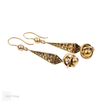 Antique 9ct Drop Earrings, 9k Victorian Knot Long Articulated Dangles. Circa 1890s.