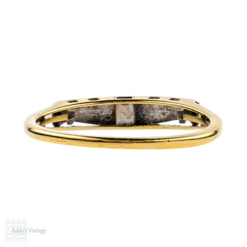 14k Two Tone Wedding Ring, Vintage Engraved Top 14ct Gold Band, 1940s.