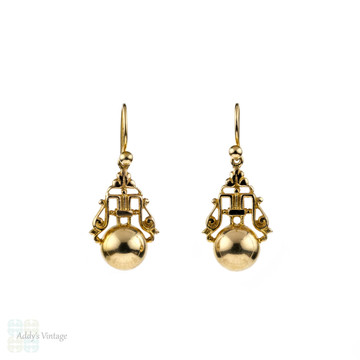 9ct Gold Drop Earrings, Vintage Ornate Carved Design with Golden Spheres. Pierced Earrings.