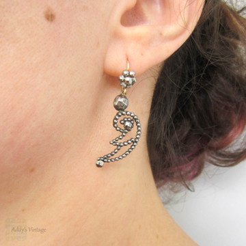 Antique Cut Steel Earrings, Victorian Winged Design Cut Steel Drops. 9ct Gold Earwires, Circa 1860s.