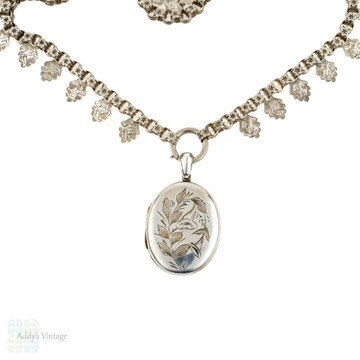 Victorian Sterling Silver Necklace & Locket, Antique Oak Leaf Chain with Large Morning Glory.