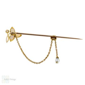 Art Nouveau Opal 15k Stick Pin, Flower Design Pearl & Diamond 15ct Gold Brooch.
