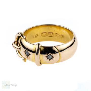 Victorian Diamond Wide Buckle Ring, Men's Antique 18 Carat Belt Design Ring with Old Mine Cut Diamonds. Circa 1900.
