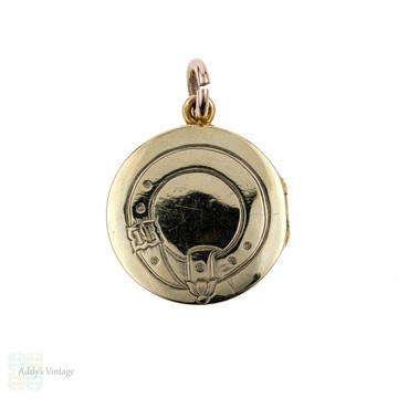 Victorian 15ct Buckle Locket. 15k Antique 1850s Small Hair Memorial Pendant.