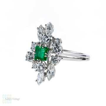 Emerald & Diamond Cocktail Ring, Vintage French 18ct White Gold Mid Century Dress Ring 18k.