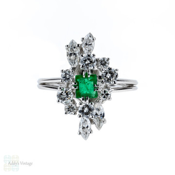 French Emerald & Diamond Cocktail Ring, Vintage 18ct 18k White Gold Mid Century Dress Ring.