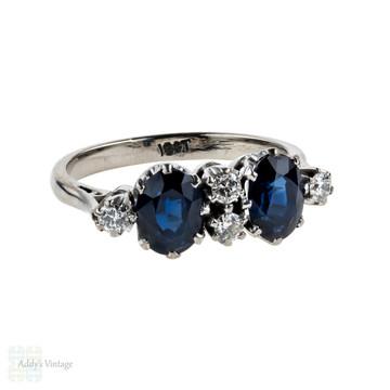 Mid Century Sapphire & Diamond Ring, Oval Cut Blue Sapphires & Round Brilliant Diamonds in 18ct White Gold.
