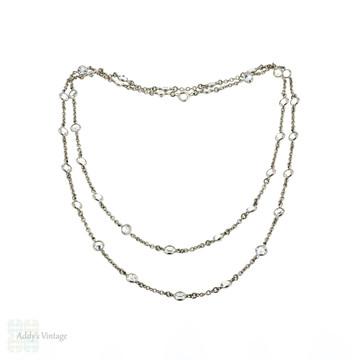 Art Deco Clear Paste Chain, Vintage Open Back Setting Long Paste Chain. Circa 1920s, 82 cm / 32.25 inches.