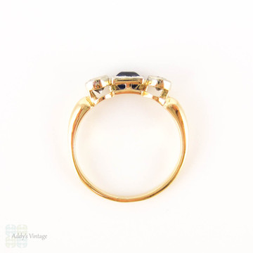 Square Blue Sapphire & Old Cut Diamond Three Stone Ring. Circa 1920s Engagement Ring, 18ct.