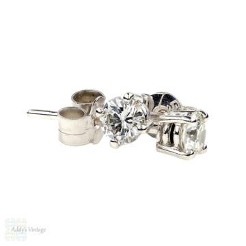 Classic Diamond Stud Earrings, Vintage Round Brilliant Diamond Earrings, 0.42 ctw in Simple 18ct Basket Settings.