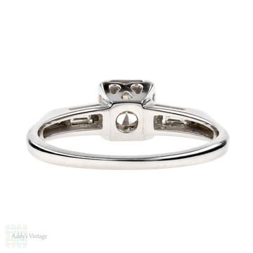 Vintage Diamond Engagement Ring, Baguette 1940s 14k White Gold Ring, 0.50ctw.