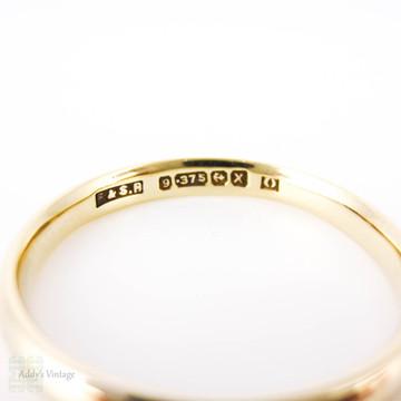 9ct Yellow Gold Utility Wedding Ring, Vintage 1940s War Era Wedding Band. Size O / 7.25.