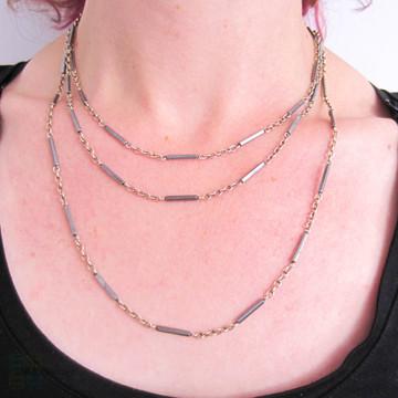 Antique Niello Chain Necklace, Edwardian 56.6 Inch Long Guard. 800 Silver & Black Enamel.