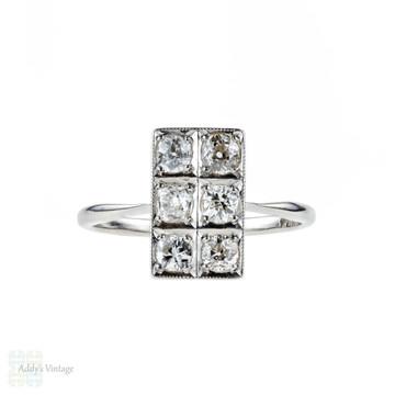 Antique Diamond Cocktail Ring, Old Mine Cut Diamonds in Rectangle Plaque Dress Ring. Platinum, Circa 1920s.