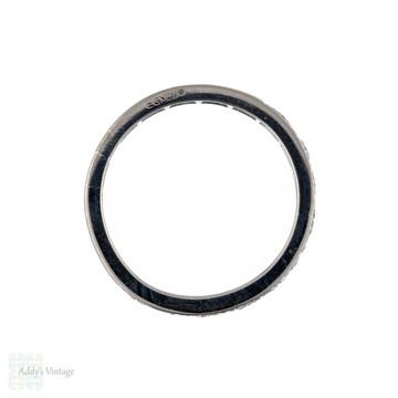 Diamond Half Hoop Ring, 18ct White Gold Square Set 10 Stone Wedding Band. Size K / 5.25.