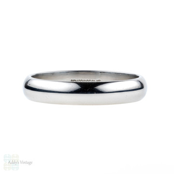 Men's Platinum Wedding Ring. Simple & Classic 4 mm D Shape Profile Wedding Band. Size S.5 / 9.5.