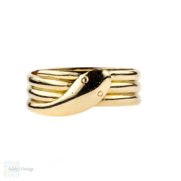 Victorian 18ct Snake Ring, Antique Wide Coiled Serpent Ring. English Hallmarks 1890s, Size T / 9.5.